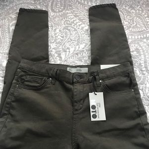 Topshop Leigh olive ankle jeans NWT